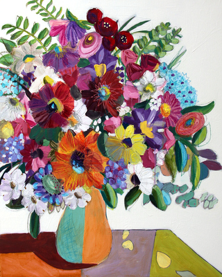 Color Me Gorgeous large mixed media floral painting by Pennsylvania artist Merrill Weber