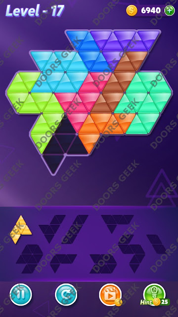 Block! Triangle Puzzle 9 Mania Level 17 Solution, Cheats, Walkthrough for Android, iPhone, iPad and iPod