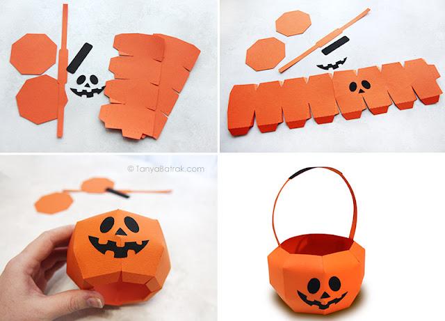 paper jack o lantern basket