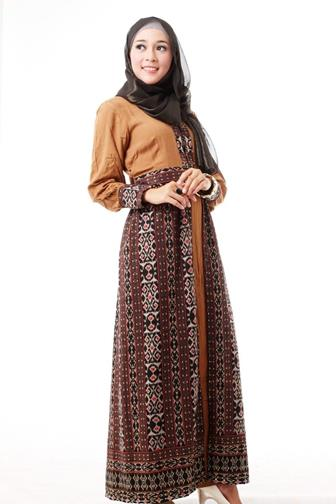 Gamis Batik Kombinasi Kain Polos Modern