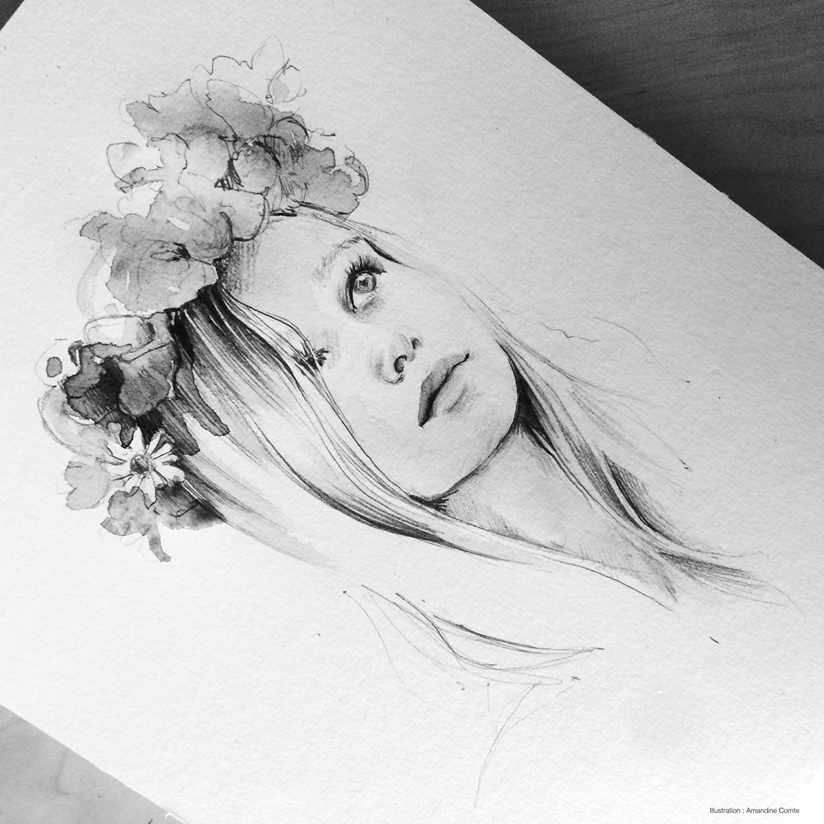 14-Flower-crown-Amandine-Comte-and-Ink-pencil-Drawings-with-a-splash-of-Watercolors