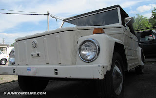Front view of boxy 1973 VW Thing in white.