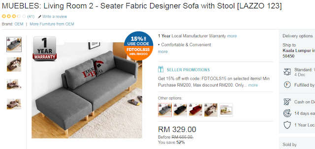 MUEBLES: Living Room 2 - Seater Fabric Designer Sofa with Stool [LAZZO 123], Lazada Blogger Contest, Online Revolution, Lazada, Shopping Online,