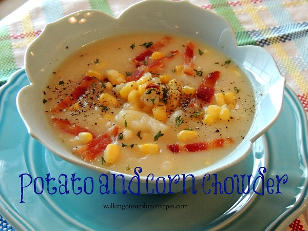 Potato and Corn Chowder is easy and delicious as you can cook it in your crock pot  from Walking on Sunshine Recipes