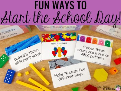 "Picture of math morning work task cards with text that says, ""Fun Ways to Start the School Day."""