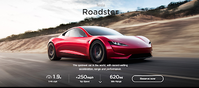 The new Tesla Roadster showing top speed great than 250mph, 620mile range and 1.9 sec 0-60mph
