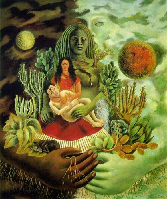 O Abraço Amoroso do Universo, a Terra (México), Eu, Diego, e o Sr. Xolotl - Frida Kahlo e suas pinturas ~ Pintora comunista e revolucionária