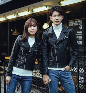 Gambar Jaket Kulit Pasangan Model Ramones atau Motorcycle Leather Jacket