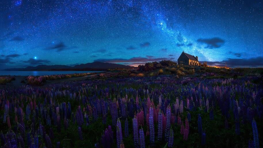 Night, Starry, Sky, Chapel, Scenery, 4K, #6.981