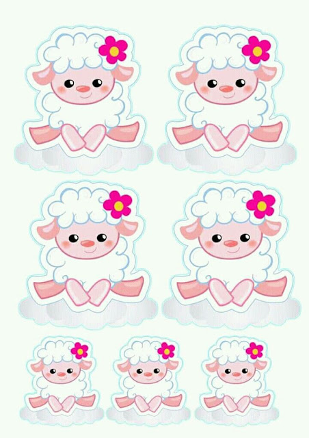 picture regarding Printable Stickers Labels titled Sheep with Flower: 1st Communion Absolutely free Printable Stickers