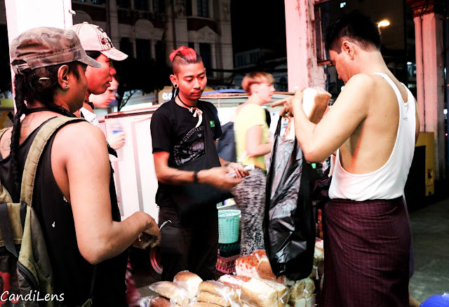 The Punks of Yangon buy food for the homless