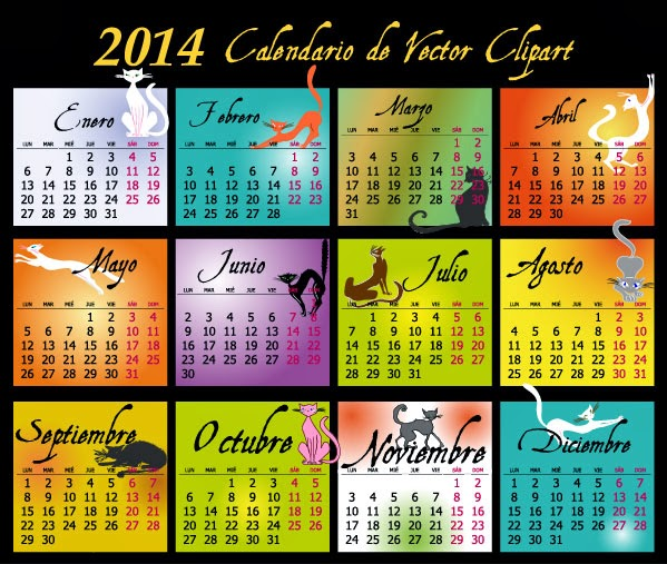 2014 Calendario en español de gatos - vector