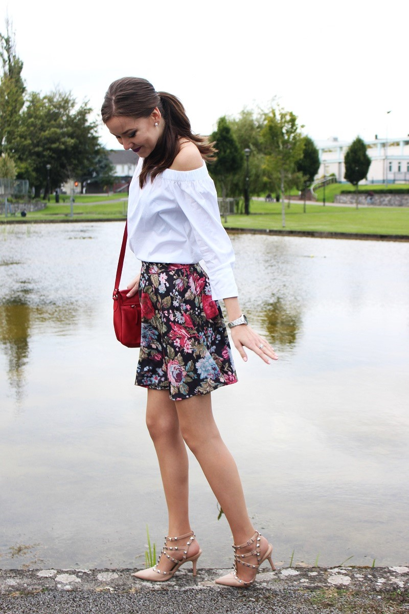 off-the-shoulder top and skirt