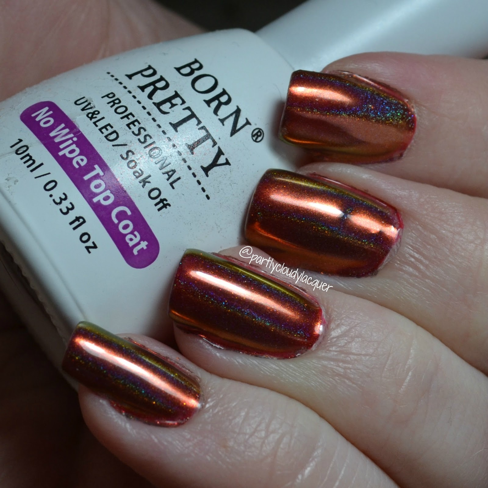 Born Pretty Store No Wipe Topcoat and Holographic Chameleon Nail ...