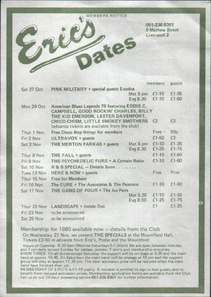 9 November 1979, Eric's, Liverpool - ACR Gigography