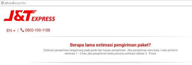 FAQ di situs J&T Express yang menjelaskan paket sampai 1-2 hari.