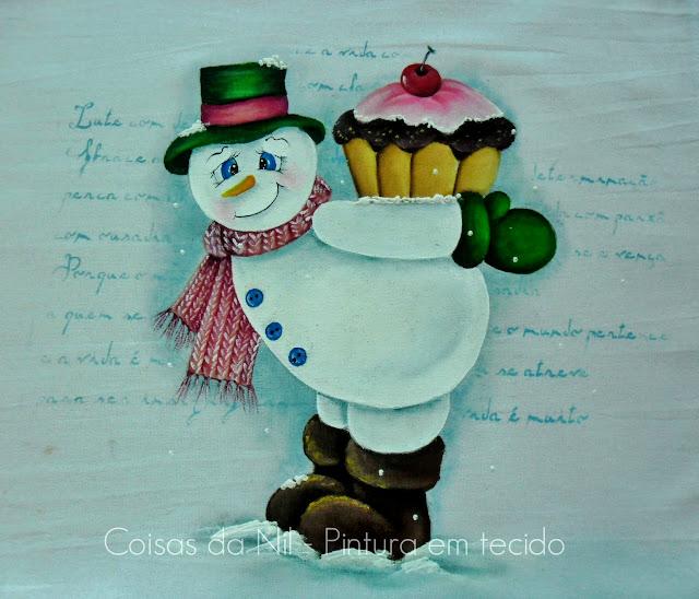 pintura boneco de neve com cupcake nas costas