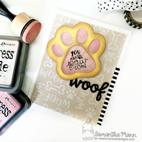 Pawprint Shaker Card by Samantha Mann | Pawprint Shaker Die Set, Say Woof Stamp Set & Woof Stencil by Newton's Nook Designs #newtonsnook #handmade