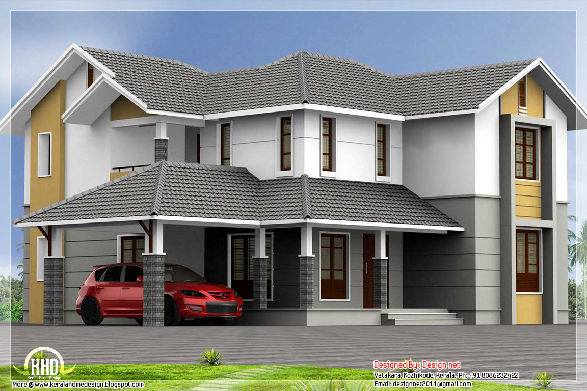 4 bedroom sloping roof house 2900 kerala home for Sloped roof house plans in india