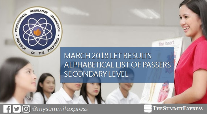 March 2018 LET Results Secondary passers list
