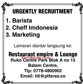 Lowongan Kerja Restaurant Empire and Lounge