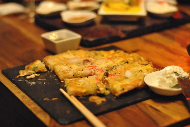Korean Crêpes mit Meeresfrüchten und Lauch