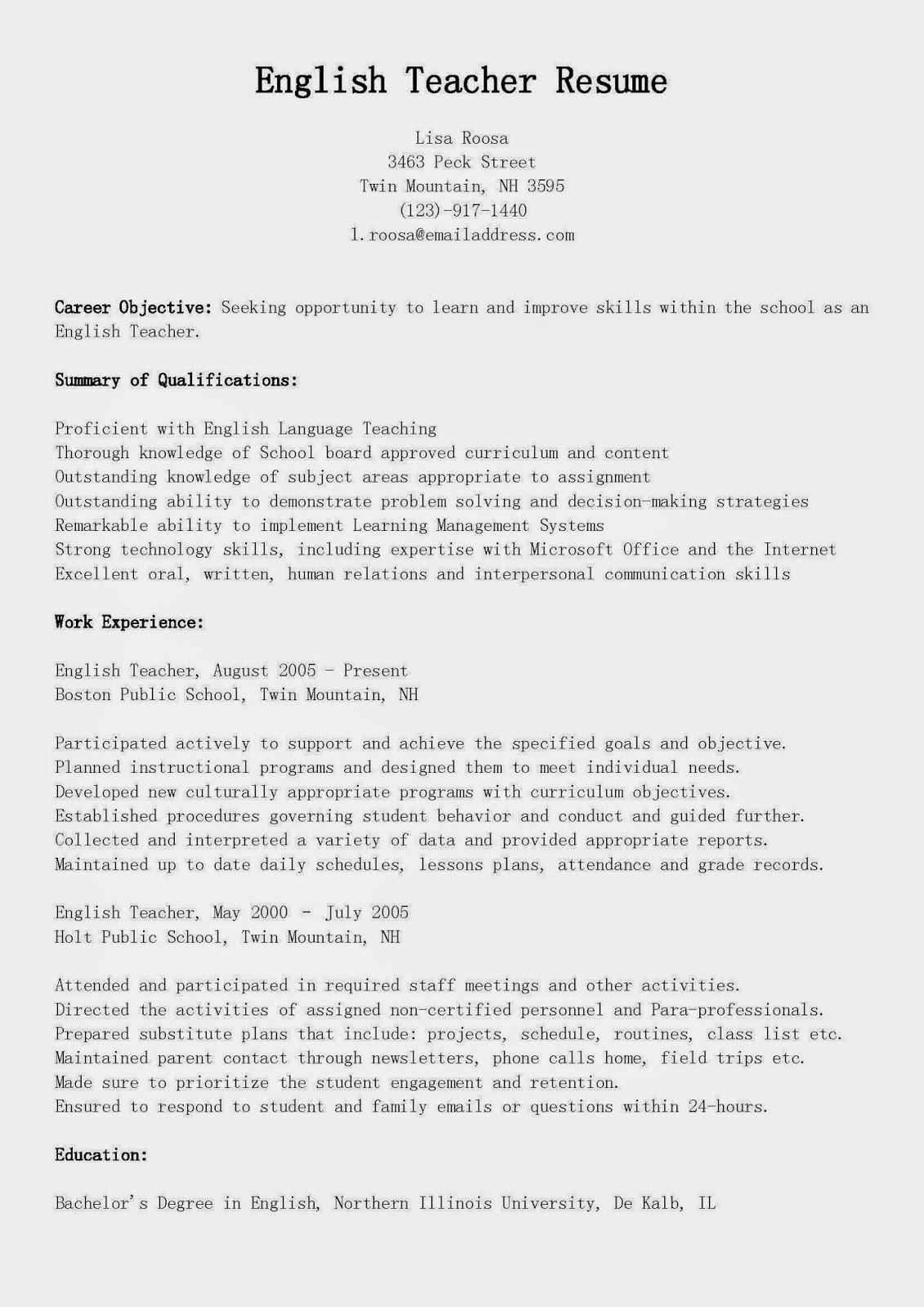 Teacher Resume Examples Resume Samples English Teacher Resume Sample