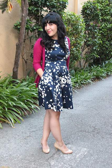 Modcloth Butterfly Print Navy Dress and Pink Cardigan