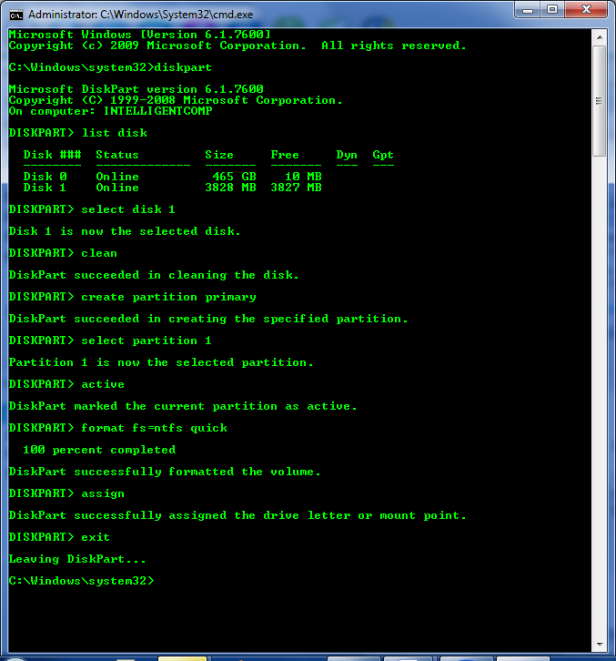 Making bootable USB of Windows 7/8 using CMD | INTELLIGENT
