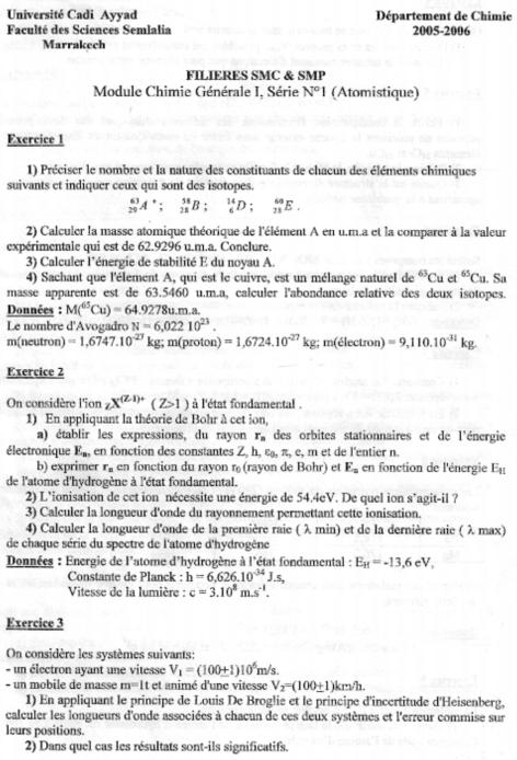 Atomistique serie n° 1+Corrigés SMPC S1