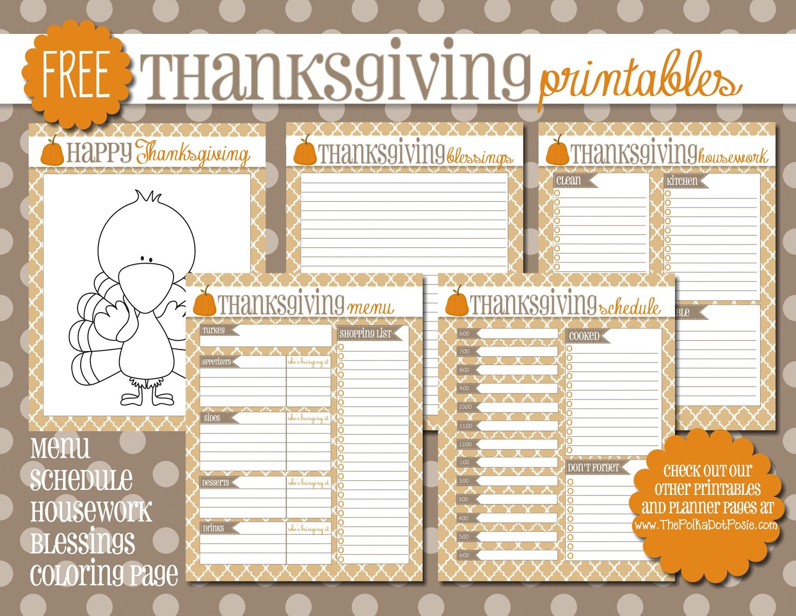 image relating to Thanksgiving Menu Planner Printable referred to as The Polka Dot Posie: Cost-free Thanksgiving Printables for your