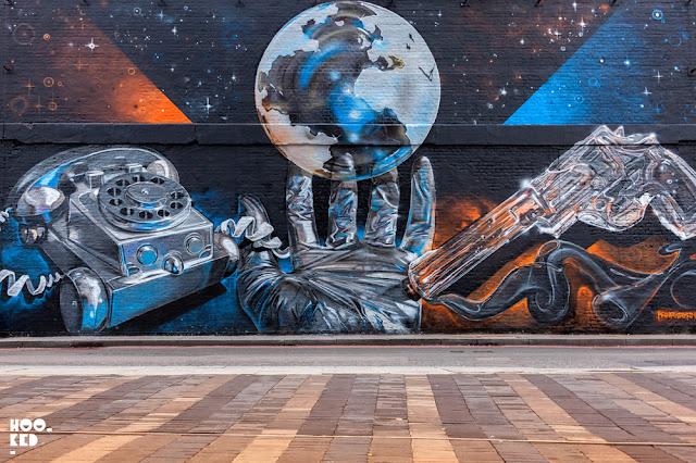 Artist Fanakapan's Village Underground mural on Holywell Lane, London.