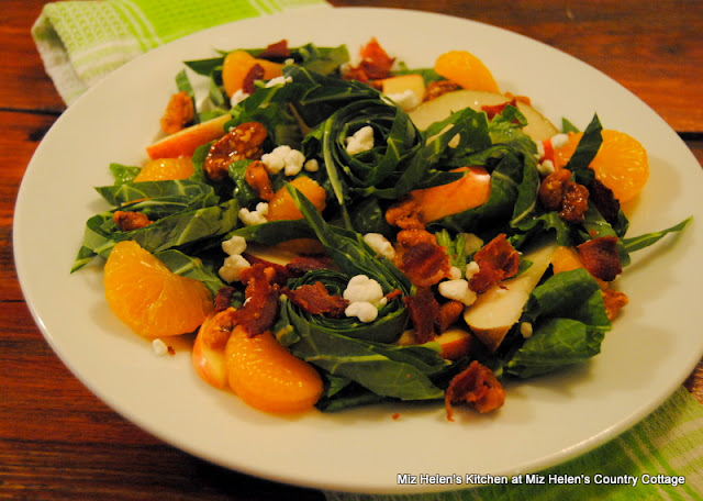 Collards and Mustard Greens Salad with Bacon Vinaigrette at Miz Helen's Country Cottage