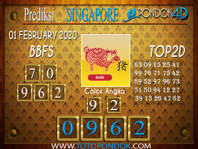 Prediksi Togel SINGAPORE PONDOK4D 01 FEBRUARY 2020