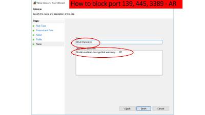 Cara Blokir Port 139-445-3389 untuk Pencegahan Ransomware WannaCry