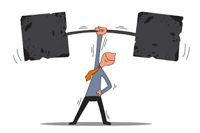 a cartoon businessman is lifting enormous barbells