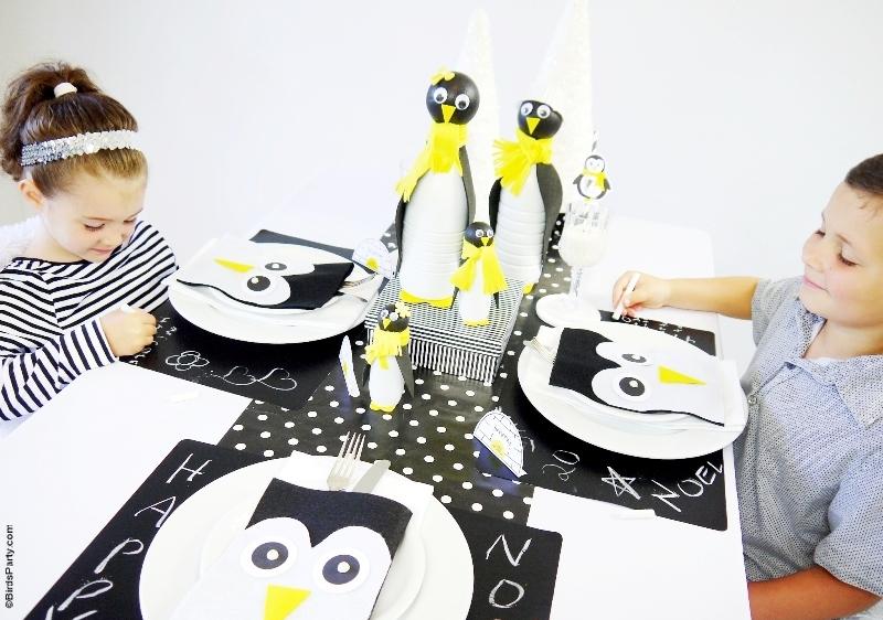 A Penguin Themed Kids Christmas Holiday Tablescape  - BirdsParty.com