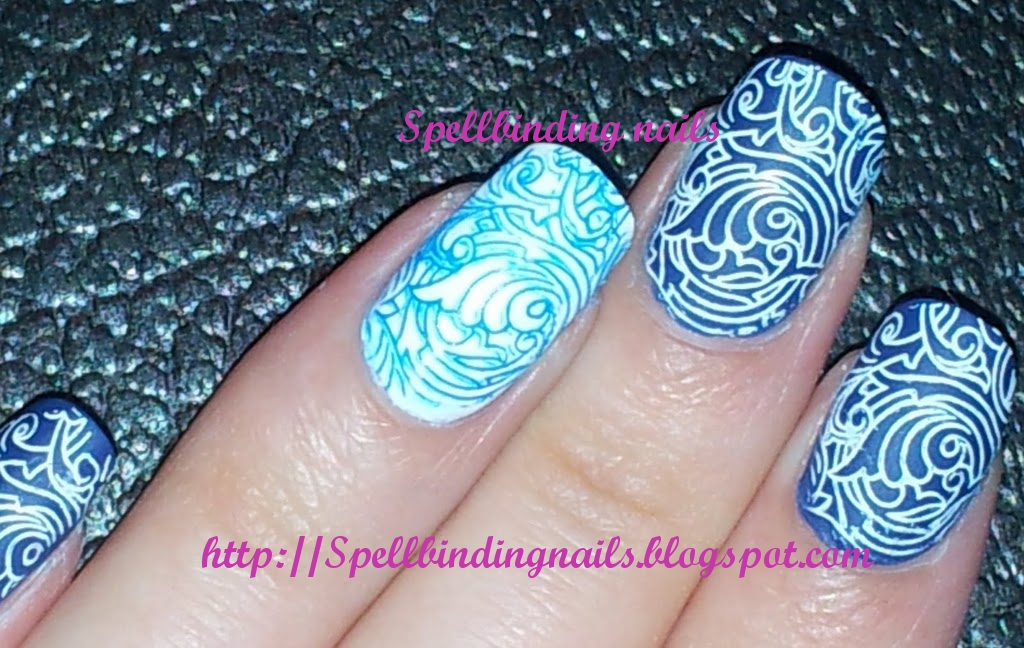 Spellbinding Nails: Big SdP D + ' A Swirly Blue and White ...