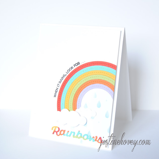 Rainbow of Happiness stamp set, Color the Rainbow and Stitched Rainbow Die-namics - Justine Hovey #mftstamps