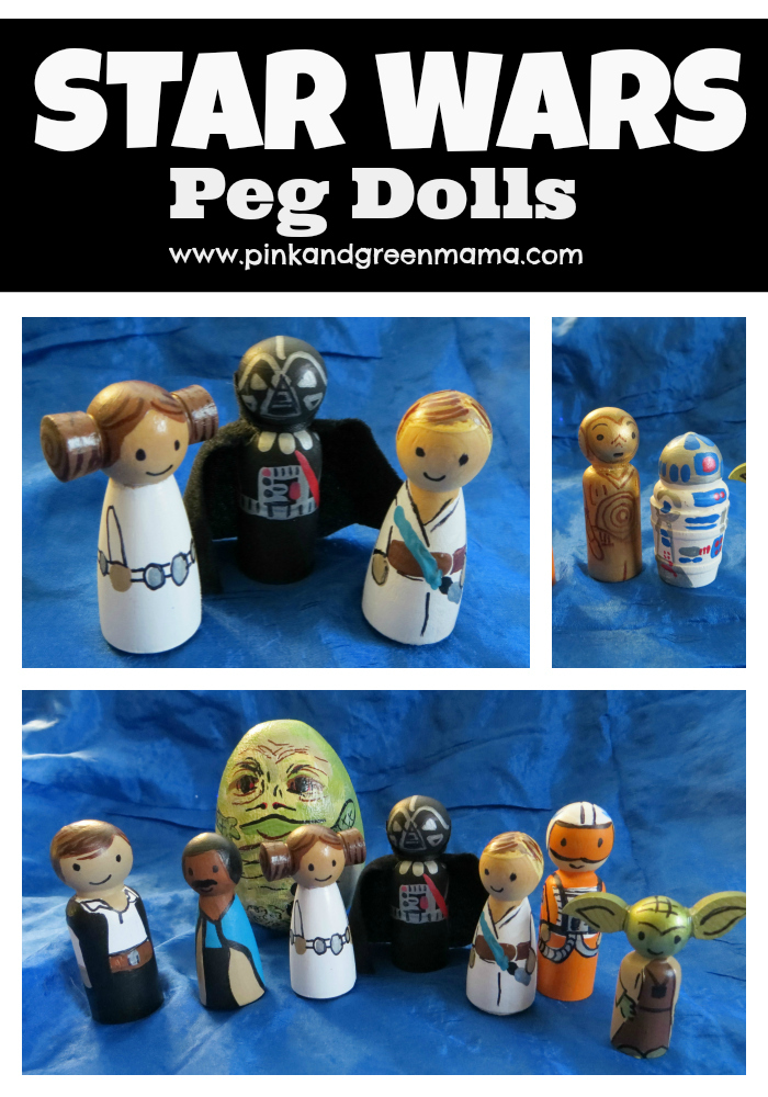 pink and green mama star wars peg dolls diy toys from the craft room. Black Bedroom Furniture Sets. Home Design Ideas