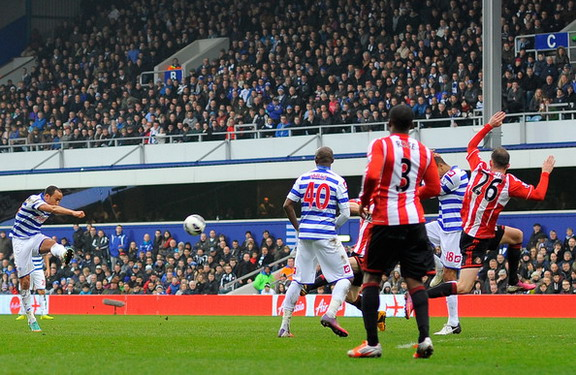 QPR midfielder Andros Townsend shoots from long range to score against Sunderland