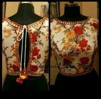 1dc93e4987656d 20+ Latest Floral Printed Saree Blouse Designs to try this year ...