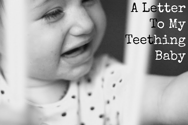 a letter to my teething baby blog post header image black & white photo of crying baby