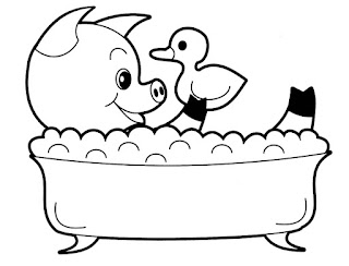 Cute Baby Pig Take Bath Coloring Picture
