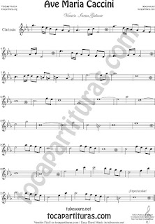 Clarinete Partitura del Ave María de Caccini Sheet Music for Clarinet Music Score