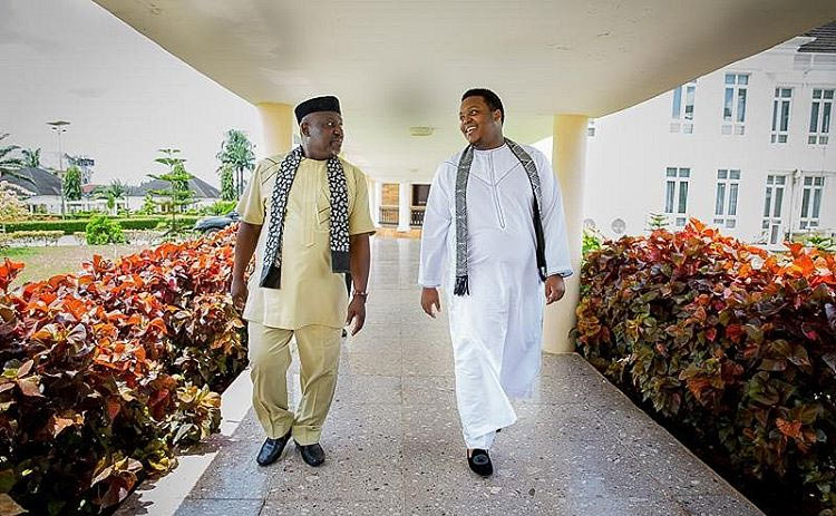 Rochas Okorocha hangs out with his son, Aham