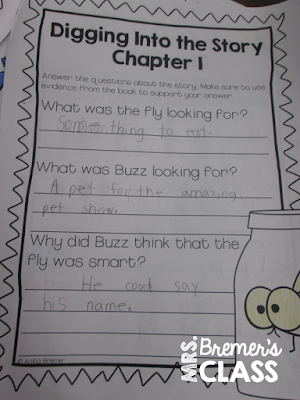Hi! Fly Guy book study companion activities and Paper Bag Book Club activities to discuss the story