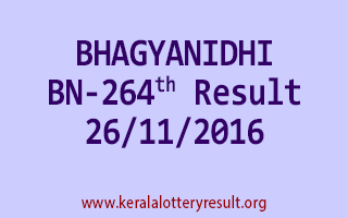 BHAGYANIDHI BN 264 Lottery Results 26-11-2016