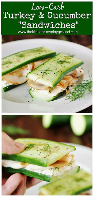 "Low-Carb Smoked Turkey & Cucumber ""Sandwiches"" ~ If you're looking for low-carb lunch ideas, these easy no-bread sandwiches have got you covered! #lowcarb #cucumbersandwiches #nobread #nobreadsandwiches  www.thekitchenismyplayground.com"