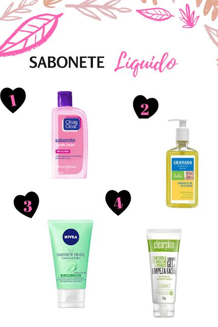 produtos de limpeza de pele